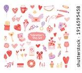 valentine's day set. heart ... | Shutterstock .eps vector #1916595458