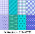 Jumbo and Small Polka Dots and Diagonal Stripes Patterns in aqua blue, purple, green and white color. Pattern Swatches made with Global Colors. Vector background - stock vector