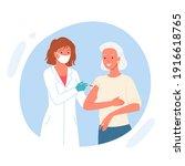 vaccine elderly patient vector... | Shutterstock .eps vector #1916618765