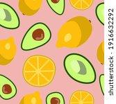 lemon avocado pattern. health... | Shutterstock .eps vector #1916632292