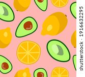 lemon avocado pattern. health... | Shutterstock . vector #1916632295