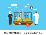 travel to dubai concept with... | Shutterstock .eps vector #1916633462