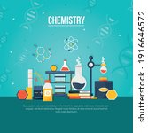 chemistry lab and icons vector...   Shutterstock .eps vector #1916646572