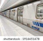 Subway Car In A Subway Station