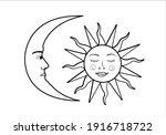 vintage sun and moon design...   Shutterstock .eps vector #1916718722