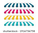 set of striped awnings.... | Shutterstock .eps vector #1916736758
