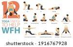 infographic 12 yoga poses for... | Shutterstock .eps vector #1916767928