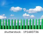 green wooden fence on a blue... | Shutterstock . vector #191683736