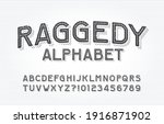 raggedy alphabet font. type... | Shutterstock .eps vector #1916871902