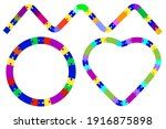 heart puzzle on colorful... | Shutterstock .eps vector #1916875898