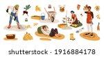 gardeners picking harvest in... | Shutterstock .eps vector #1916884178