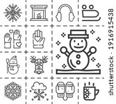 13 Lineal February Icons Set...