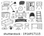 set of interior object... | Shutterstock . vector #1916917115
