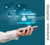 businessman holding a mobile... | Shutterstock . vector #191692532
