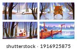 set of winter landscape... | Shutterstock .eps vector #1916925875