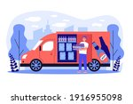happy deliveryman delivering... | Shutterstock .eps vector #1916955098