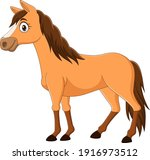 Cartoon Brown Horse Isolated On ...