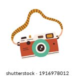 retro film photo camera with... | Shutterstock .eps vector #1916978012