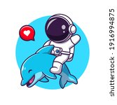 cute asrtronout with dolphin... | Shutterstock .eps vector #1916994875