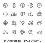 vector set of currency line... | Shutterstock .eps vector #1916996942
