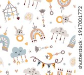 seamless pattern with baby... | Shutterstock .eps vector #1917001772