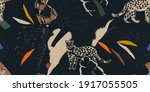 hand drawn abstract jungle... | Shutterstock .eps vector #1917055505