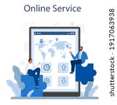 business negotiations online... | Shutterstock .eps vector #1917063938