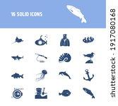 sea world icon set and flatfish ...