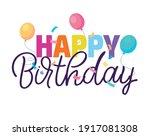 happy birthday   cute hand...   Shutterstock .eps vector #1917081308