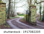 Old Open Gate Of Country Estate ...