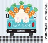 easter truck  bunny for easter... | Shutterstock .eps vector #1917087938