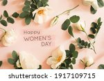 Text Happy Women's Day On Pink...