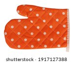 Mitt Oven Glove Orange Polka...