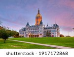 Connecticut State Capitol in downtown Hartford, Connecticut in USA at sunset
