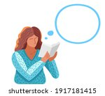 young woman reading a book...   Shutterstock .eps vector #1917181415
