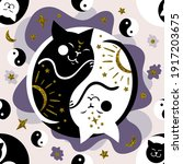 vector seamless pattern of cats ... | Shutterstock .eps vector #1917203675
