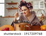Small photo of Kitchen calamity. Bad unskilled novice housewife cooking food for the first time. Funny woman in hair curlers holding ladle and tasting smelly stinky disgusting yucky disastrous awful uneatable soup