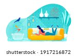 relaxing at home on couch ... | Shutterstock .eps vector #1917216872