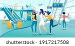 girlfriends taking selfie photo ... | Shutterstock .eps vector #1917217508