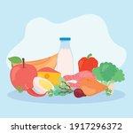 milk bottle and healthy food... | Shutterstock .eps vector #1917296372