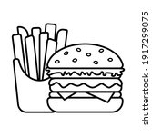 burger and french fries in box  ... | Shutterstock .eps vector #1917299075