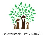 a family tree with leaves logo... | Shutterstock .eps vector #1917368672