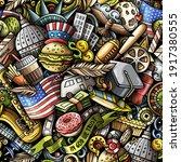 cartoon doodles usa seamless...   Shutterstock .eps vector #1917380555