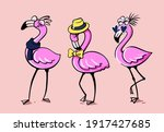 three flamingos stand in... | Shutterstock .eps vector #1917427685