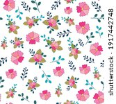 seamless pattern with pink... | Shutterstock .eps vector #1917442748