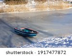 Frozen Ditch With Wooden Rowing ...