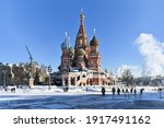 Red Square In Winter. Snow And...