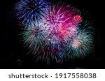 Fireworks In A Dark Night Sky...