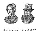 old man and woman in a vintage... | Shutterstock .eps vector #1917559262