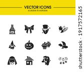 halloween icons set with small...